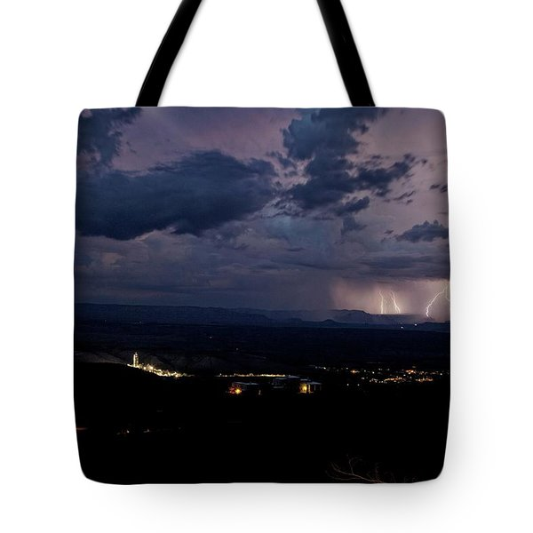 Tote Bag featuring the photograph Monsoon Lightning Over Sedona From Jerome Az by Ron Chilston