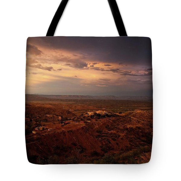 Tote Bag featuring the photograph Monsoon Storm Afterglow by Ron Chilston