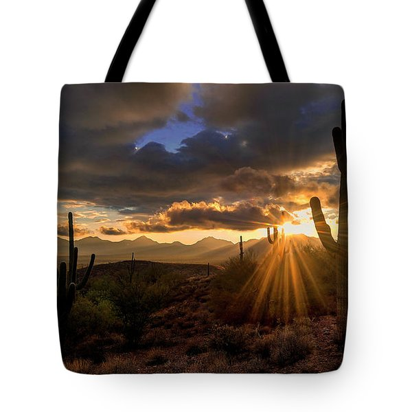 Tote Bag featuring the photograph Monsoon Sunburst by Anthony Citro