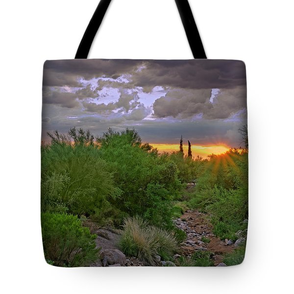 Tote Bag featuring the photograph Monsoon Sunset H56 by Mark Myhaver