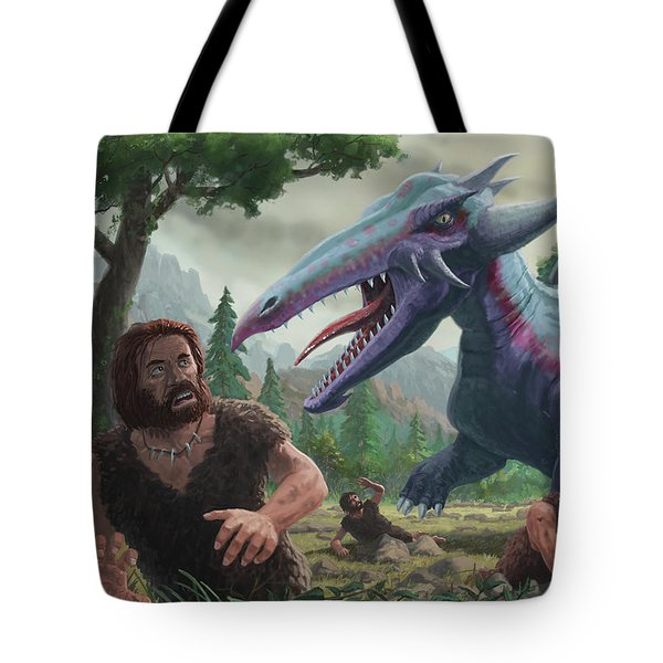 Tote Bag featuring the painting Monster Attacking Cavemen by Martin Davey