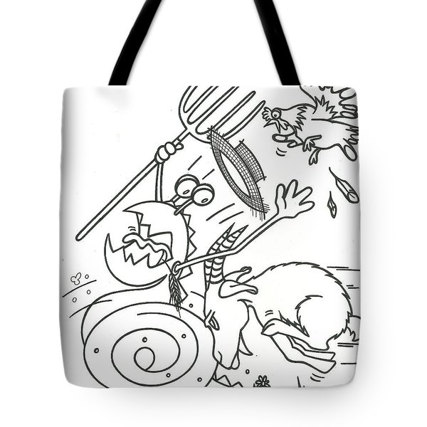 Monster Getting Chased Tote Bag