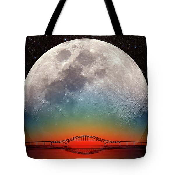 Tote Bag featuring the photograph Monster Moonrise by Larry Landolfi