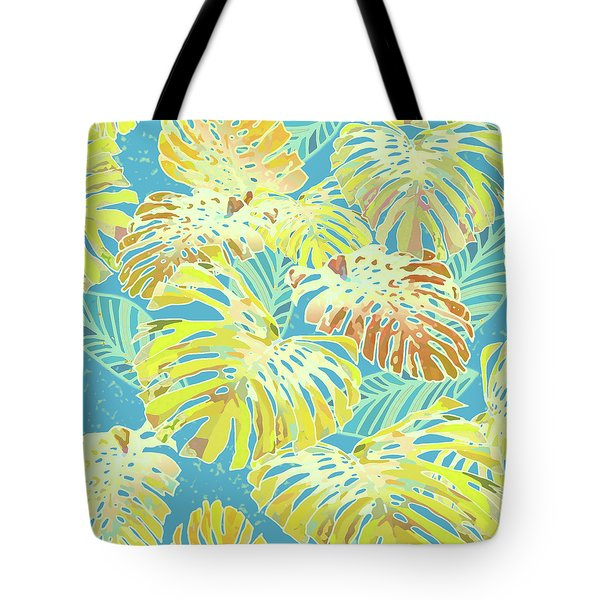 Monstera Jungle In Blue And Gold Tote Bag