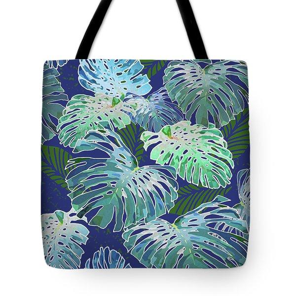 Monstera Jungle On Indigo Tote Bag