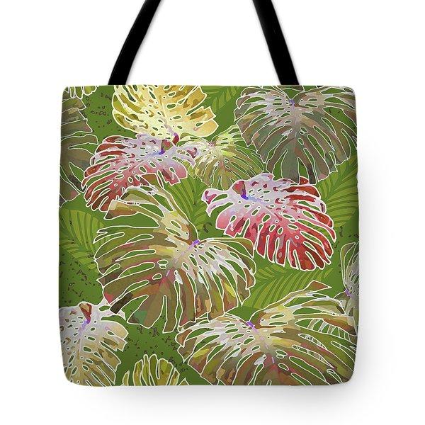 Monstera Jungle On Olive Tote Bag
