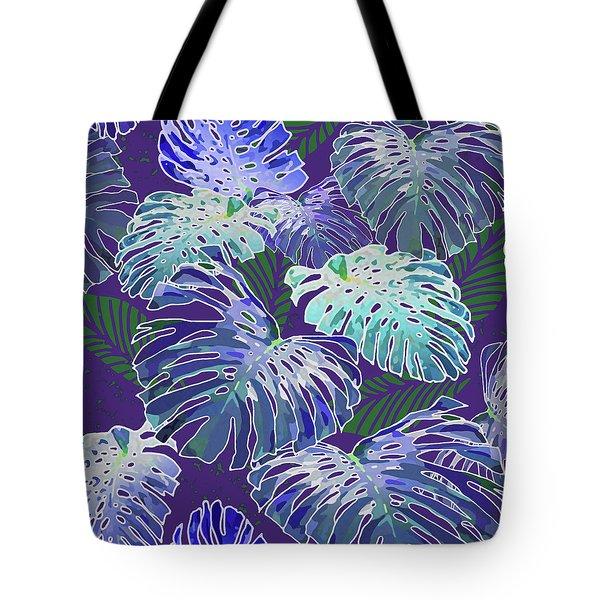Monstera Jungle On Purple Tote Bag
