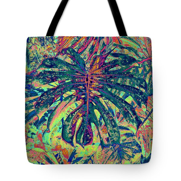 Tote Bag featuring the digital art Monstera Leaf Patterns - Square by Kerri Ligatich