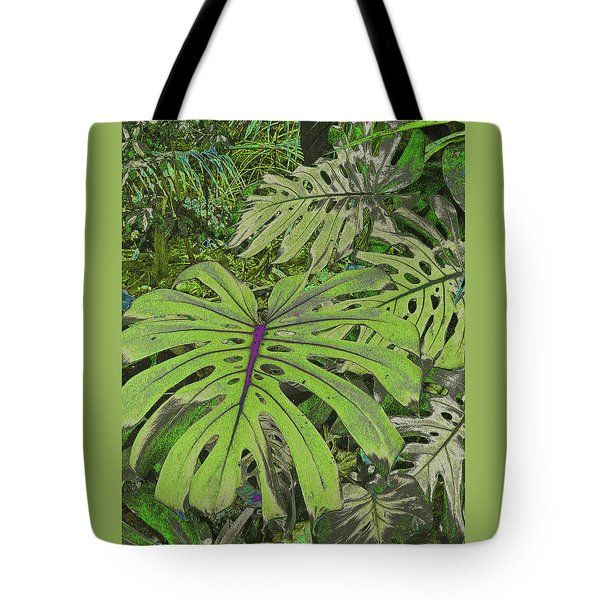 Monstera Leaves - Soft Greens Tote Bag