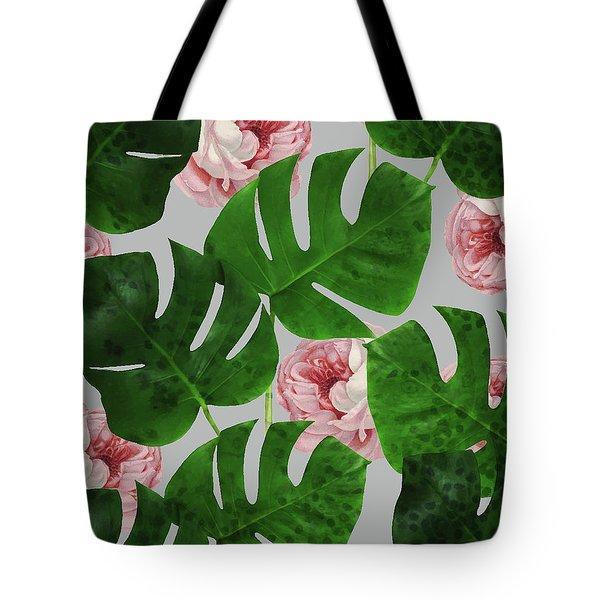 Monstera Rose Pattern Tote Bag by Uma Gokhale