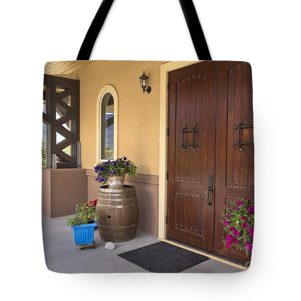 Tote Bag featuring the photograph Montakarn Winery Door by Maria Janicki
