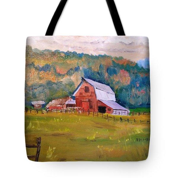 Montana Barn Tote Bag by Larry Hamilton