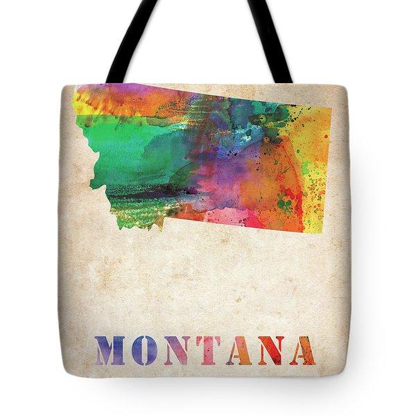 Montana Colorful Watercolor Map Tote Bag