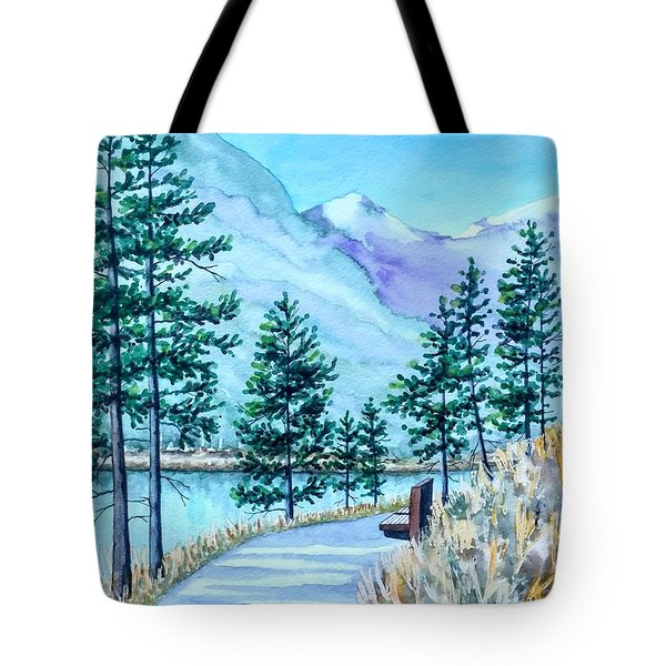 Montana Lake Como With Bench Tote Bag