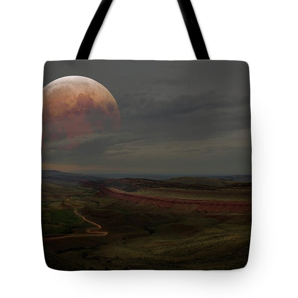 Montana Landscape On Blood Moon Tote Bag