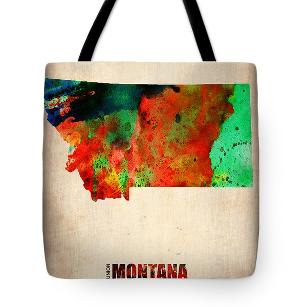 Montana Watercolor Map Tote Bag