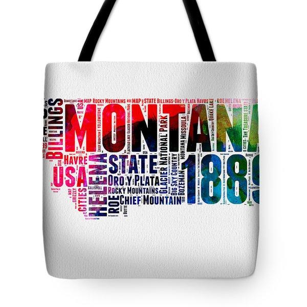 Montana Watercolor Word Cloud  Tote Bag