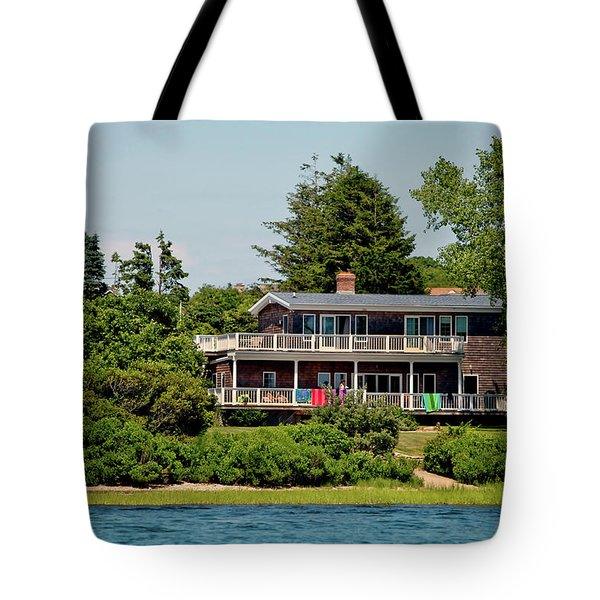 Tote Bag featuring the photograph Montauk Beach Towels by Art Block Collections