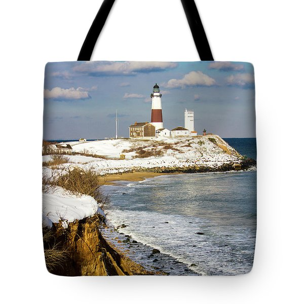 Montauk Lighthouse Winter Bluffs Tote Bag