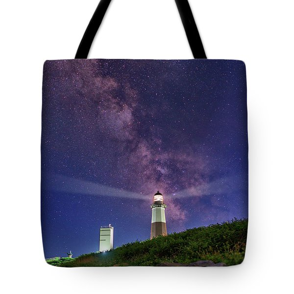 Montauk Point And The Milky Way Tote Bag by Rick Berk
