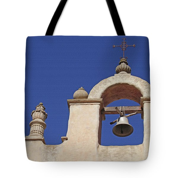 Tote Bag featuring the photograph Montecito Mt. Carmel Church Tower by Art Block Collections
