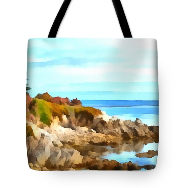 Tote Bag featuring the photograph Monterey Coastline Watercolor by Floyd Snyder