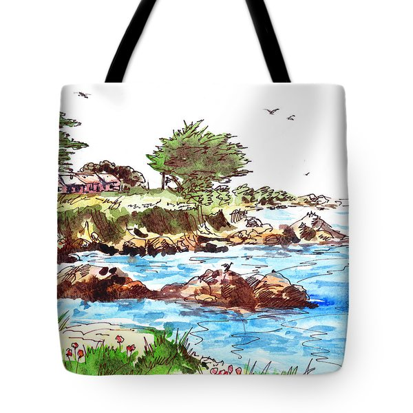 Tote Bag featuring the painting Monterey Shore by Irina Sztukowski