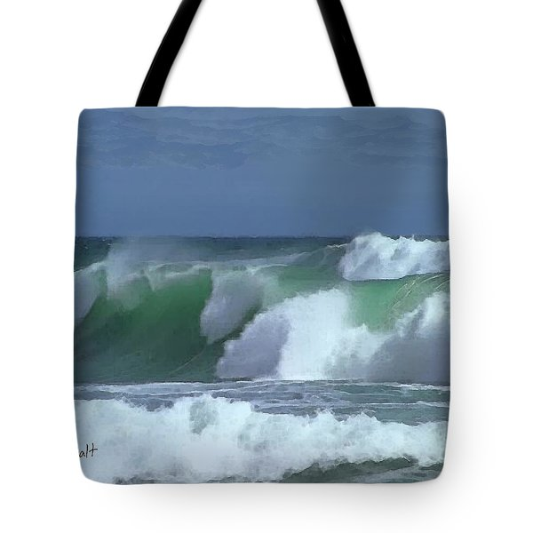 Tote Bag featuring the digital art Monterey Surf by Walter Chamberlain