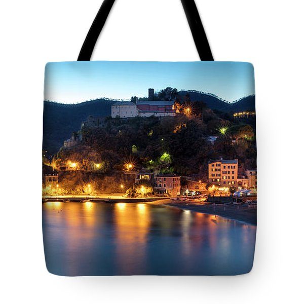 Tote Bag featuring the photograph Monterosso Al Mare At Twilight by Brian Jannsen