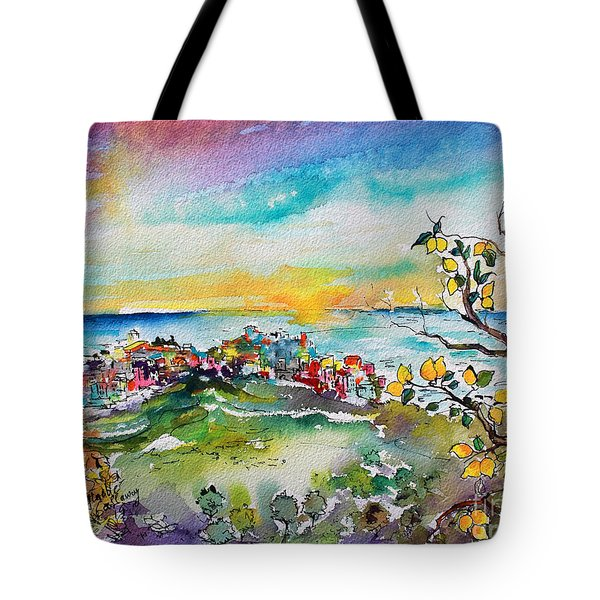 Monterosso Al Mare Lemon Orchards Tote Bag by Ginette Callaway