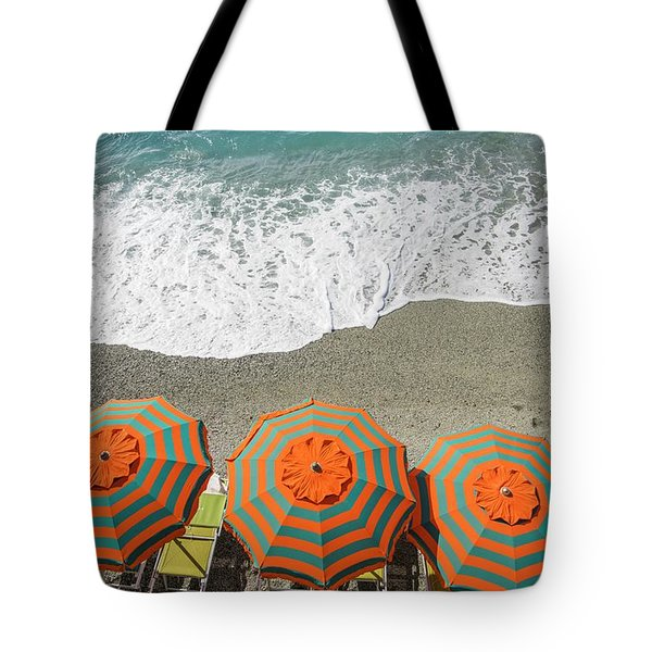 Monterosso Umbrellas Tote Bag by Brad Scott