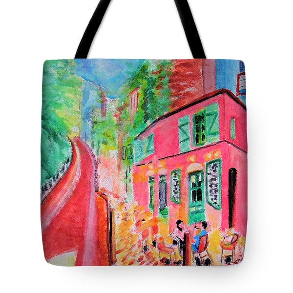 Montmartre Cafe In Paris Tote Bag