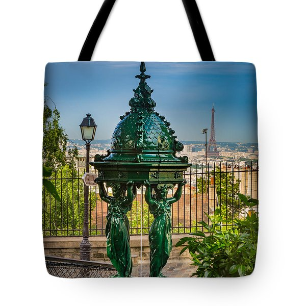 Montmartre Wallace Fountain Tote Bag by Inge Johnsson