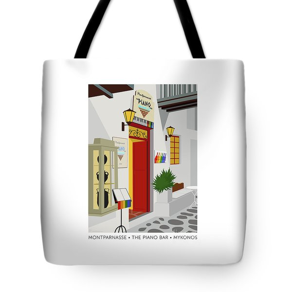 Tote Bag featuring the digital art Montparnasse The Piano Bar by Sam Brennan
