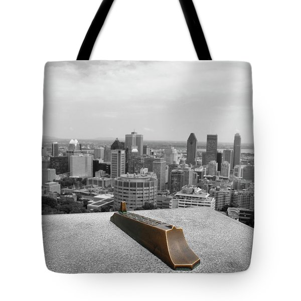 Montreal Cityscape Bw With Color Tote Bag