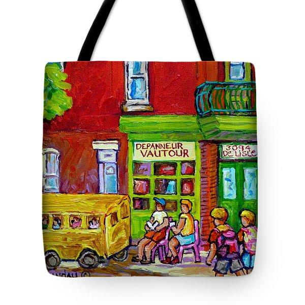 Montreal Depanneur Rue Delisle St Henri City Scene Painting Summer In The City Carole Spandau Artist Tote Bag
