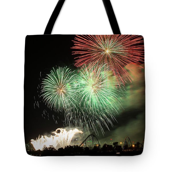 Montreal-fireworks Tote Bag by Mircea Costina Photography
