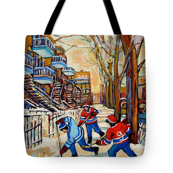 Montreal Hockey Game With 3 Boys Tote Bag by Carole Spandau
