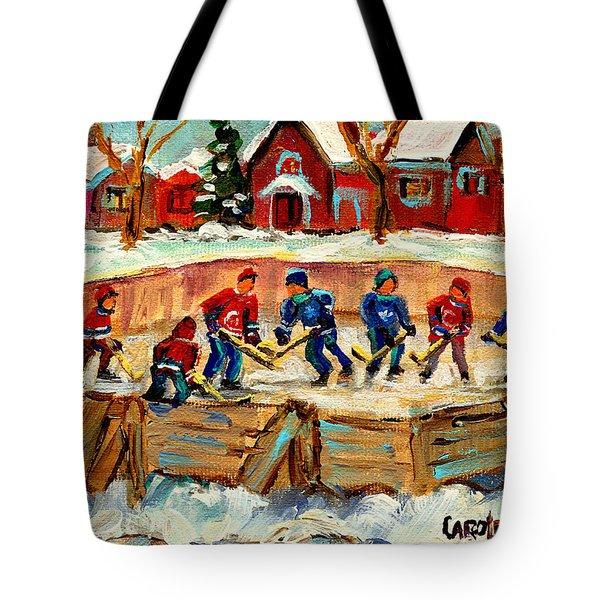 Montreal Hockey Rinks Urban Scene Tote Bag by Carole Spandau