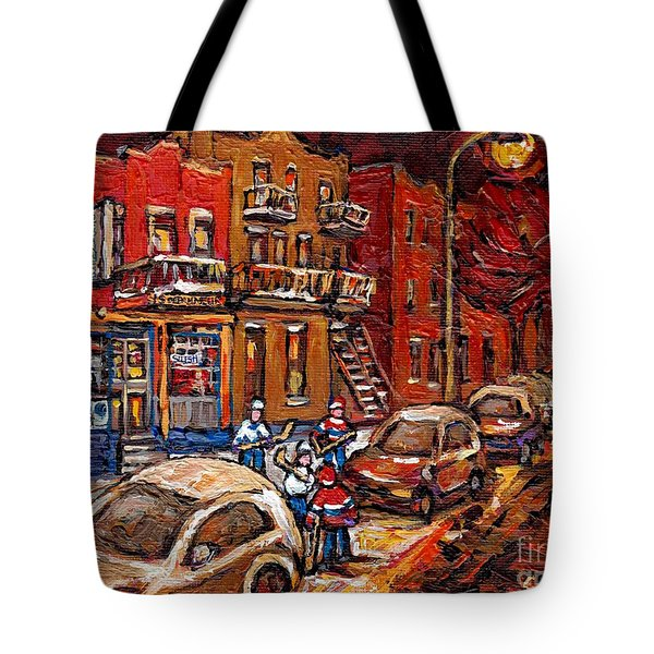 Montreal Night Scene Painting Hockey Game On Rue Centre At The Depanneur Pointe St Charles Winter  Tote Bag