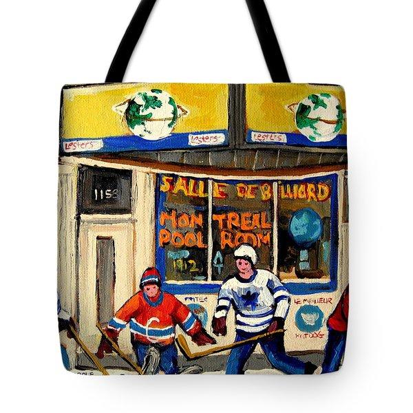 Montreal Poolroom Hockey Fans Tote Bag by Carole Spandau