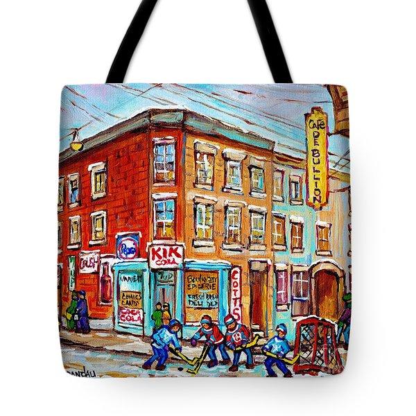 Montreal Storefront Paintings Debullion Street Hockey Art Quebec Winterscenes C Spandau Canadian Art Tote Bag
