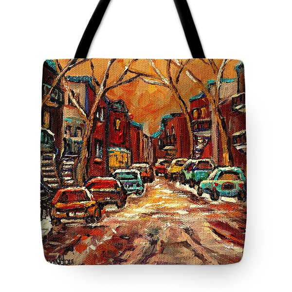 Montreal Streets In Winter Tote Bag by Carole Spandau