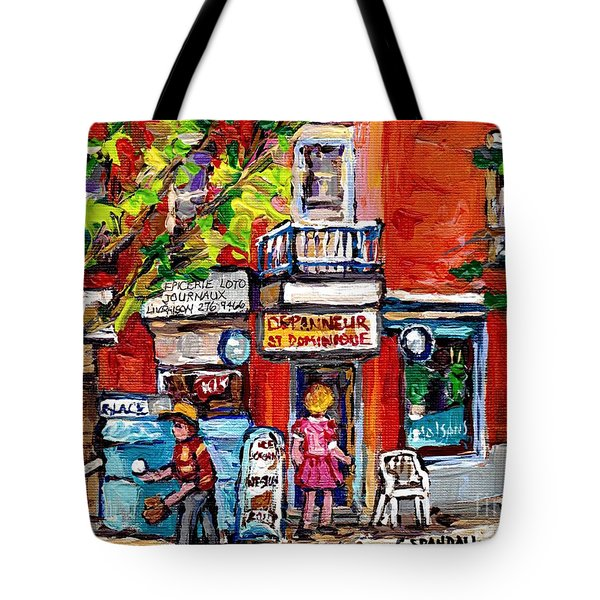 Montreal Summer Scene Painting Kids Play Baseball At The Depanneur Rue St Dominique Plateau  Art Tote Bag