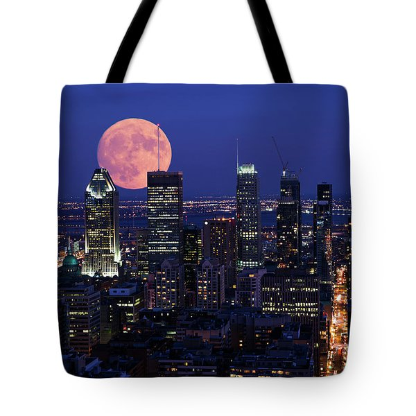 Tote Bag featuring the photograph Montreal Supermoon by Mircea Costina Photography