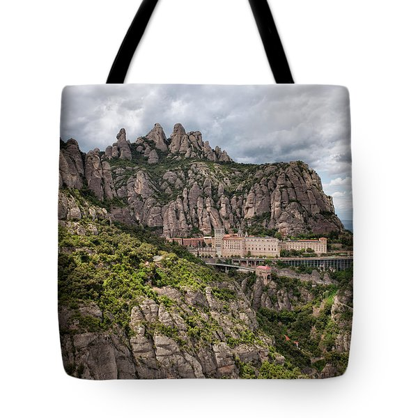 Montserrat Mountains And Monastery In Spain Tote Bag