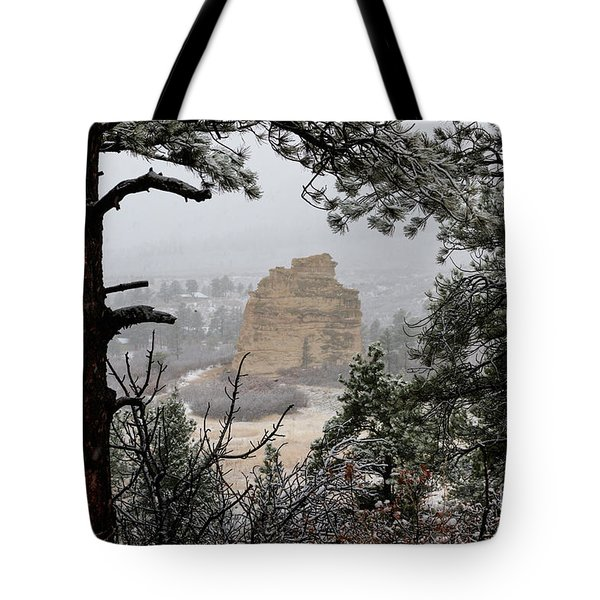 Monument Rock In The Snow Tote Bag