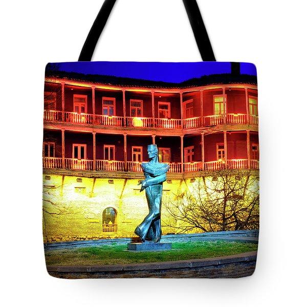 Tote Bag featuring the photograph Monument To Shota Kavlashvili by Fabrizio Troiani