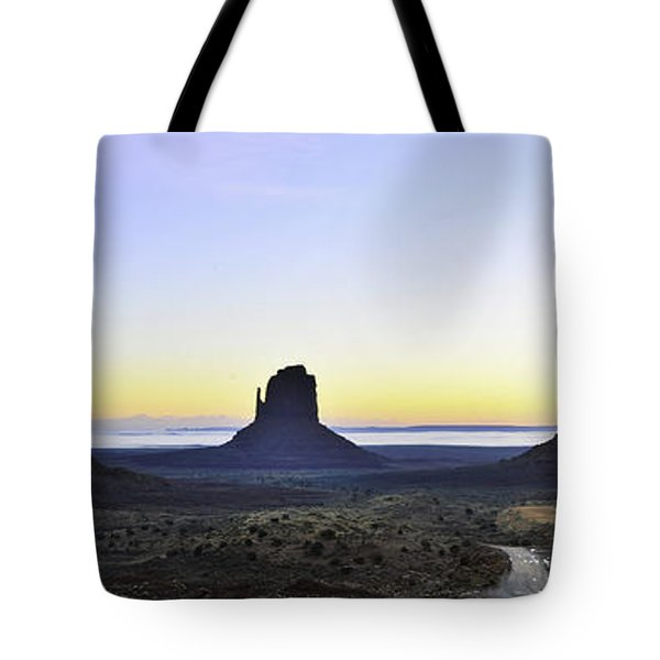 Monument Valley At Sunrise Panoramic Tote Bag