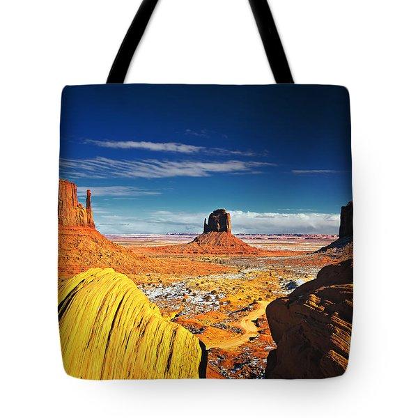 Monument Valley Mittens Utah Usa Tote Bag by Sam Antonio